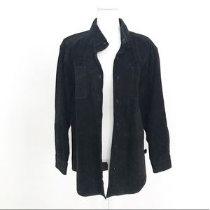 Black Suede Leather Button Down Shirt Jacket Small
